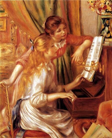 ピアノに寄る少女たち